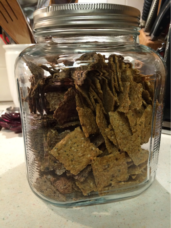 raw crackers in canister jar