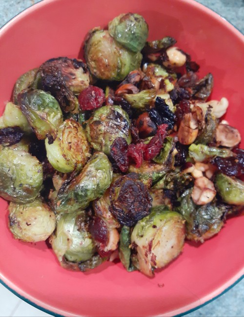 Roasted Brussels Sprouts With Dried Cranberries and Hazelnuts For Your Holiday Feast