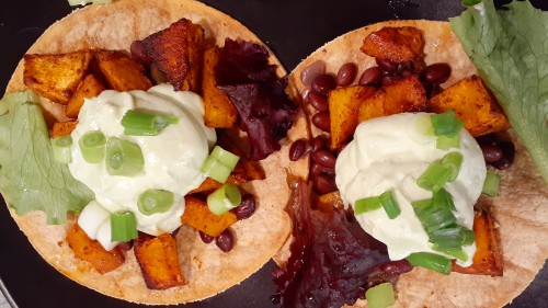Delectable Butternut Squash and Black Bean Tacos With Vegan Cream Cheese/Jalapeno/Avocado Topping