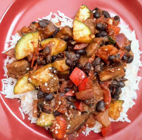 Eggplant With Black Beans is the Simplest Meal Ever! Plus It's Vegan, Gluten-Free, and Delicious!
