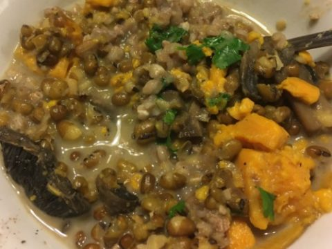 Easy Vegan, Gluten-Free Mung Bean Sweet Potato Mushroom Mild Curry