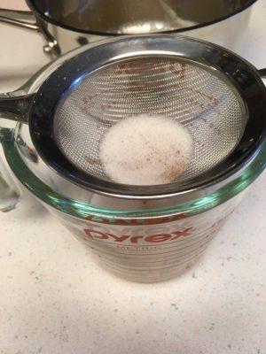 straining vegan browned butter
