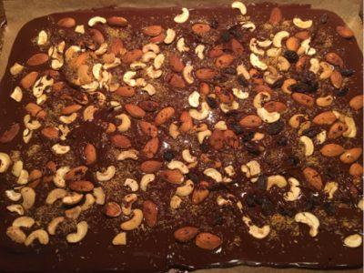 chocolate bark with almonds cashews coconut