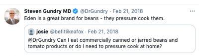 dr gundry eden pressure cooks beans