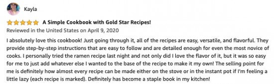 review a simple cookbook with gold star recipes