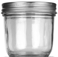 empty half pint wide mouth canning jar