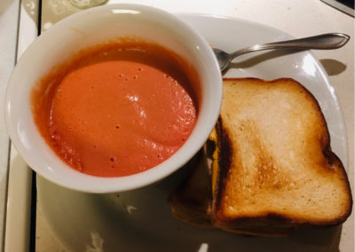 gluten-free vegan grilled cheese sandwich and tomato soup