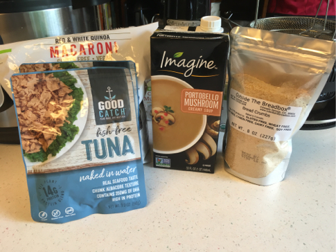 gluten-free vegan tuna noodle casserole with real vegan tuna