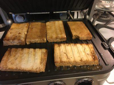 grilled marinated tofu on the griddler gril