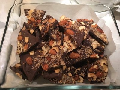 vegan chocolate bark with toasted almonds cashews coconut raisins recipe